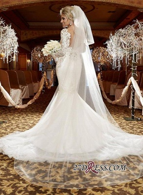 2020 lace Mermaid Zipper Long-Sleeve Gorgeous Wedding Dress_3