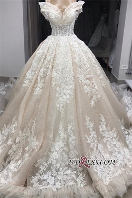 Ball-Gown Appliques Off-the-shoulder Gorgeous Wedding Dresses_4