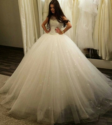 Stunning Sleeveless Tulle Princess Wedding Dress 2020 Sequins Ball Gown_1