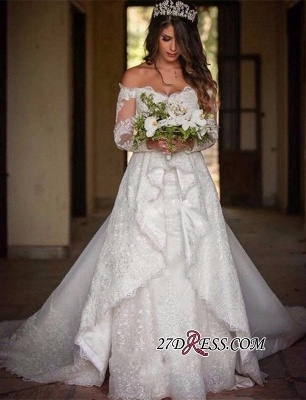 Beautiful Long-Sleeve Lace Princess Off-the-Shoulder Wedding Dress_4