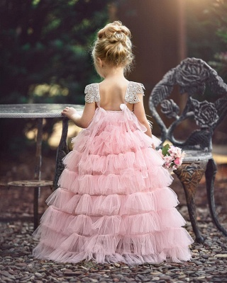 Pink Layers Tulle Flower Girl Dress | 2020 Lace Princess Girls Pageant Dress BA9852_3