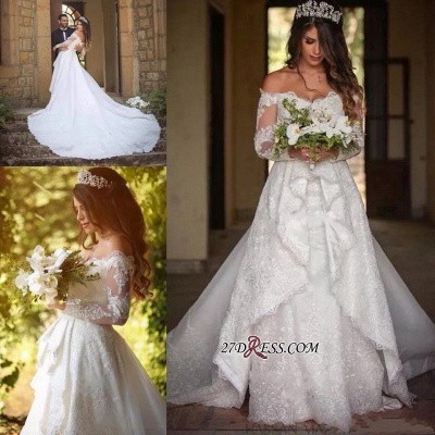 Beautiful Long-Sleeve Lace Princess Off-the-Shoulder Wedding Dress_3