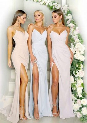 Sexy Spaghetti Strap Sleeveless Maid of Hornor Dress On Sale | Mermaid Long Bridesmaid Dress With Split_2