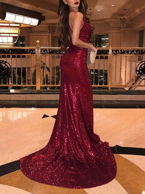Sexy Sequins Burgundy Mermaid Prom Dresses | V-Neck Sleeveless Side Slit Evening Dresses BC0866_2