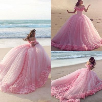Fairy Pink Off-the-Shoulder 2020 Wedding Dress Tulle Ball Gown With Train LP047_5
