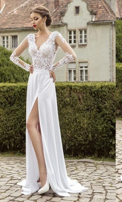 New Arrival Lace Long Sleeves Sweetheart Chiffon Prom Dress With Split_2