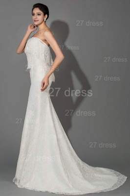 Modern Strapless White Lace Evening Dress Sweep Train_2