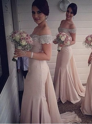 Sexy Off-the-shoulder Mermaid 2020 Bridesmaid Dress Beadings Sweep Train_4