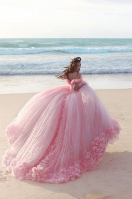 Fairy Pink Off-the-Shoulder 2020 Wedding Dress Tulle Ball Gown With Train LP047_3
