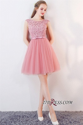 Cheap Short Sleeveless Pink Bowknot Lace Tulle Homecoming Dresses_3