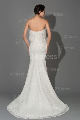 Modern Strapless White Lace Evening Dress Sweep Train_4