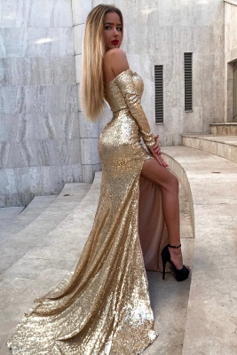 Gorgeous Sweetheart Mermaid Long Sleeves Prom Gown | 2020 Sequins Long Evening Dress With Split BC0751_3