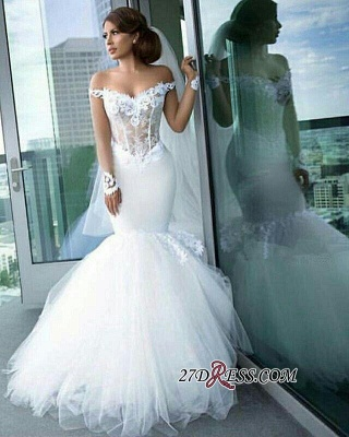 2020 Tulle Long-Sleeves Off-the-Shoulder Appliques Mermaid Elegant Wedding Dress qq0158_4
