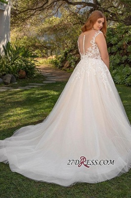 Applique Sleeveless Full-back Straps A-line Wedding Dress