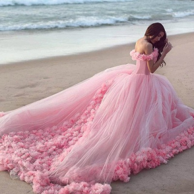Fairy Pink Off-the-Shoulder 2020 Wedding Dress Tulle Ball Gown With Train LP047_4