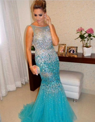 Glamorous Sleeveless Beadings Crystals Prom Dresses 2020 Mermaid Tulle Party Gowns_1