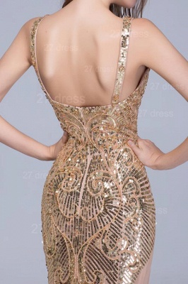 Glamorous Straps Mermaid Sequins Evening Dress Sweep Train_5