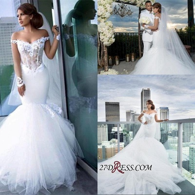 2020 Tulle Long-Sleeves Off-the-Shoulder Appliques Mermaid Elegant Wedding Dress qq0158_1