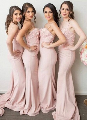 Pink Mermaid 3D-Floral-Appliques Spaghettis-Straps Bridesmaid Dresses_1