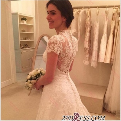 A-line Sweep-Train Short-Sleeve Zipper Newest Lace Wedding Dress BA4575_3