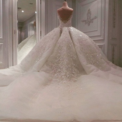 Glamorous Sweetheart Cap Sleeves Beaded Wedding Dress   Long Lace Appliques Ball Gown Puffy Bridal Gowns_4
