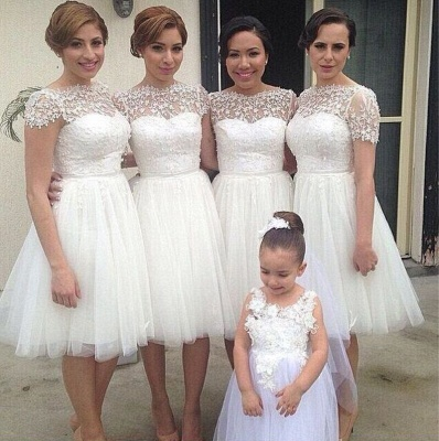 Romantic White Tulle Lace Bridesmaid Dress 2020 Short Sleeve_3