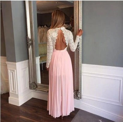 Zipper High-Neck Elegant Split Lace Chiffon Long-Sleeve A-line Prom Dress_2