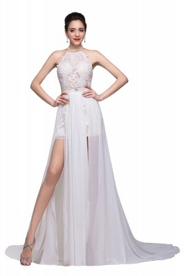 Newest High Neck Elegant Prom dress 2020 Long beadings Chiffon Evening gown With Lace Appliques CPS231_2