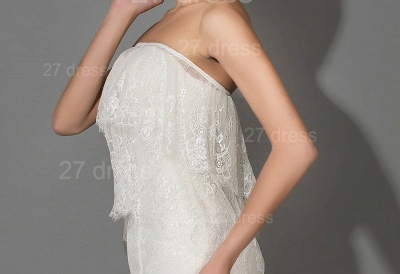 Modern Strapless White Lace Evening Dress Sweep Train_3