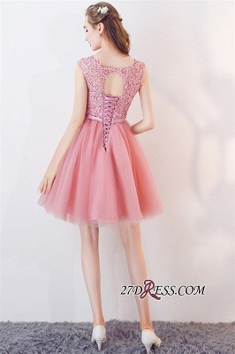 Cheap Short Sleeveless Pink Bowknot Lace Tulle Homecoming Dresses_2