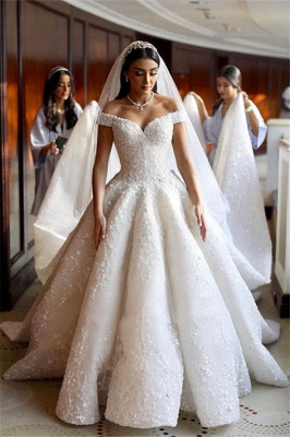 Charming Off-the-shoulder Flowers Wedding Dresses Lace Appliques Sleeveless Bridal Gowns_1