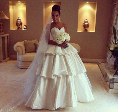 Gorgeous Sweetheart Layered 2020 Wedding Dresses Ball Gown Floor Length Bridal Gown_3