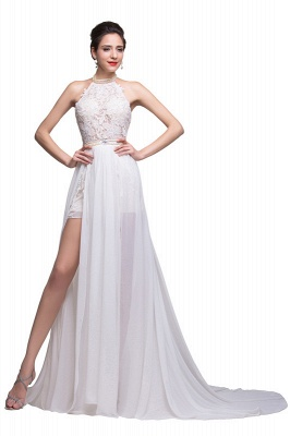 Newest High Neck Elegant Prom dress 2020 Long beadings Chiffon Evening gown With Lace Appliques CPS231_3