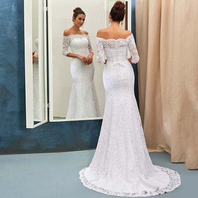 Sheath-Column Off-the-shoulder Sweep-train Simple Lace-up Half-sleeves Wedding Dress BA7158_4