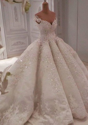 Glamorous Sweetheart Cap Sleeves Beaded Wedding Dress   Long Lace Appliques Ball Gown Puffy Bridal Gowns_3
