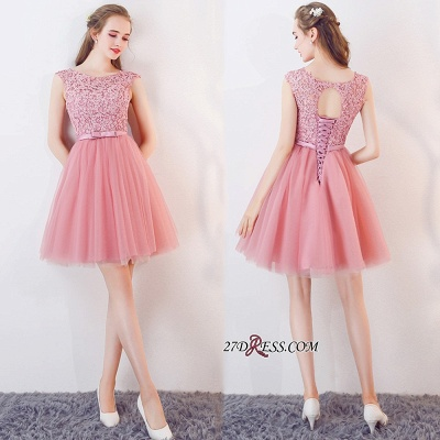 Cheap Short Sleeveless Pink Bowknot Lace Tulle Homecoming Dresses_1