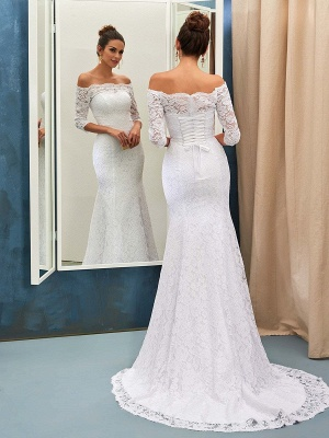Sheath-Column Off-the-shoulder Sweep-train Simple Lace-up Half-sleeves Wedding Dress BA7158_2