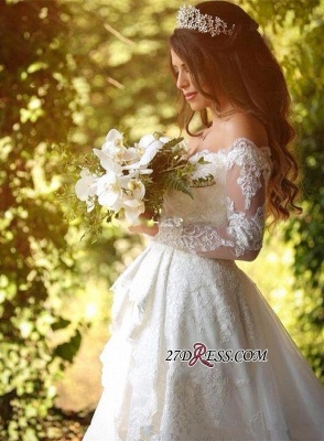 Beautiful Long-Sleeve Lace Princess Off-the-Shoulder Wedding Dress_5