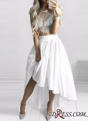 Hi-Lo White Capped-Sleeves Lace Sexy Two-Piece Prom Dresses_2