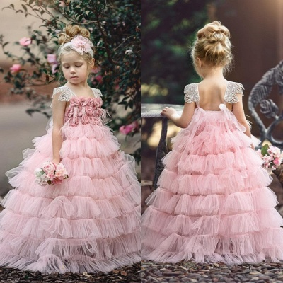 Pink Layers Tulle Flower Girl Dress | 2020 Lace Princess Girls Pageant Dress BA9852_4