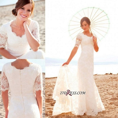 Sweep-Train Short-Sleeves Sheath-Column Lace Chic Scoop-Neck Wedding Dress_2