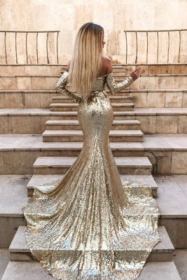 Gorgeous Sweetheart Mermaid Long Sleeves Prom Gown | 2020 Sequins Long Evening Dress With Split BC0751_2