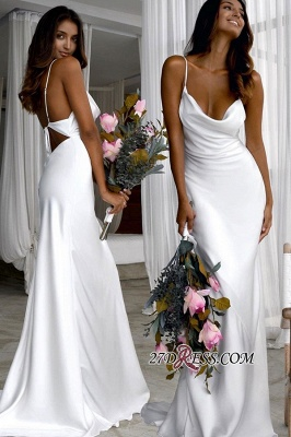Sexy Sheath Back Open Spaghetti-Straps Wedding Dresses