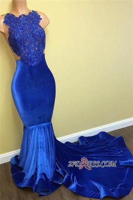 Lace Sleeveless Blue Mermaid Gorgeous Prom Dress FB0014_3