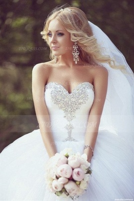 Crystal Tulle Ball Gown Wedding Dresses with 2020 Sweetheart Sleeveless Sequins Lace-up Court Train Bridal Gowns_3