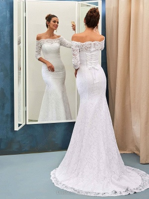 Sheath-Column Off-the-shoulder Sweep-train Simple Lace-up Half-sleeves Wedding Dress BA7158_3