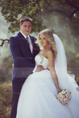 Crystal Tulle Ball Gown Wedding Dresses with 2020 Sweetheart Sleeveless Sequins Lace-up Court Train Bridal Gowns_2