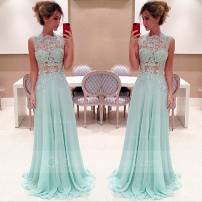 Elegant Sleeveless High-Neck Long Chiffon Prom Dresses 2020 With Appliques_2