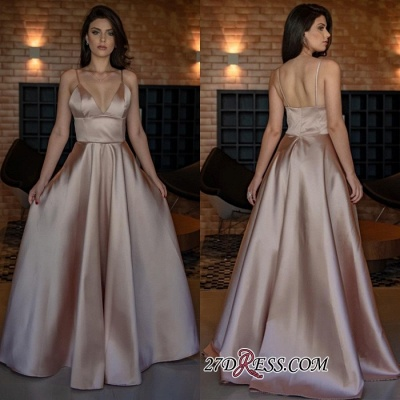 V-Neck Spaghetti-Straps Evening Dress | 2020 Sleeveless Simple Prom Dress_2
