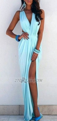 Sexy V-neck Sleeveless Long Prom Dress With Front Split_1